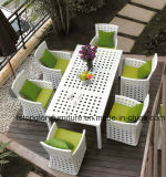 PE Rattan Garden Table Dining Chair Set Outdoor Furniture