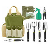 9 Piece Garden Tools Set with 6 Ergonomic Gardening Tools, Includes Digger, Weeder, Rake, Trowel, Pruners, Transplanter, Garden Tote Bag and Gloves