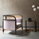 Italian Simple Style Hotel Furniture Fabric Sofa Metal Wooden Chair
