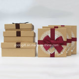 Kraft Paper Gift Square Paper Boxes with Ribbon White Lace Decoration