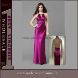 Wholesale Cheap Women Halter Party Long Satin Evening Dress (5022)