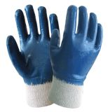 Cotton Knitted Oil-Proof Work Gloves with Full Nitrile Dipping