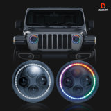APP Controlled Color Chasing LED Headlights for Jeep Offroad with Hi/Low Beam + Chasing Halo DOT Approved