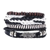 Women Leather Bracelet Stainless Steel Fashion Jewelry for Men