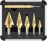Titanium Step Drill Bit Set; Automatic Center Punch, High Speed Steel Drill Bit Set, 50 Sizes, Double Cutting Blades Design Aluminum Case