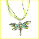 Fashion Alloy Green Dragonfly Pendant Necklace