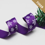 Purple Background Printing Snow Grosgrain Ribbon