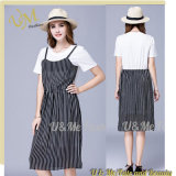 Latest Women False Two Pieces Short Sleeve Casual Splicing Dress