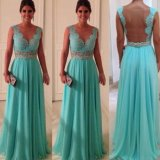 V-Neck Prom Dress Gown Lace Vestidos Chiffon Party Evening Dresses E13186