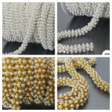 Wedding Garment Accessories Anti-Corn Pearl Chain Round ABS Pearl Cup Chain (SS28/6mm pearl white)