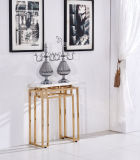 High Console Table with Mirror Golden Stainless Steel Frame