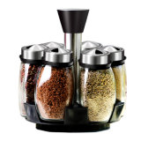 Popular 6PCS Set Glass Jar Set Spice Rack for Kitchen Implements