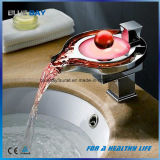 LED Bathroom Waterfall Water Flow Lavatory Mixer Faucet Tap