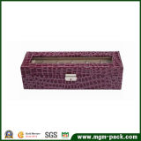 Plush Purple Rectangle Wood Watch Box
