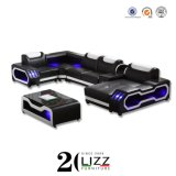 2020 New Design Modern Furniture Leisure Home/Office/Hotel Luxury Inductive LED Living Room Chaise Corner Sofa with Table