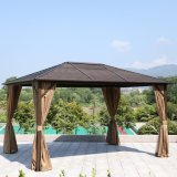 Outdoor Garden Backyard Dark Green Aluminium Hardtop Gazebo 4X4 Polycarbonate