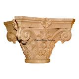 Wood Carved Full Round Floral Vine Capital Cap-Fr-04