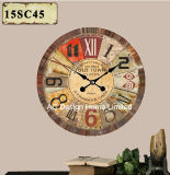 Vintage Decoration Antique Classic Colorful Design MDF Wooden Print Paper Decal Wall Clock