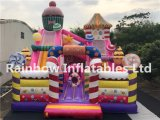 Colorful Pink Inflatable Candy Bouncy Castle for Outdoor and Indoor
