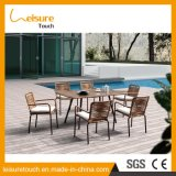 Popular Elegant 6 People Outdoor Wicker Dining Table Set