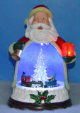 9′′ LED & Musical Santa Clause with Rotating Tree and Train Inside, 8 Christmas Songs for Christmas as Gift
