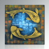 Eco Friendly Handmade Abstract Fish Oil Painting Good Design Wall Art Hotel