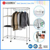 DIY Clothing Rolling Rack Chrome Metal Bedroom Portable Wardrobe for Home