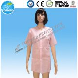Disposable SBPP/PP+PE/SMS Breathable Lab Coat with Shrit Collar