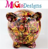 Wholesale Decal Flowers Piggy Bank Ceramic Money Box