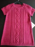 Short Sleeves Cable Pattern Winter Sweater Cotton Dress with Socks for Baby Girl
