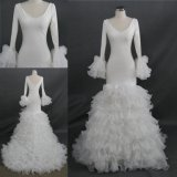 Wholesale Real Long Sleeves Ruffle Organza Skirt Mermaid Bridal Gown
