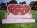 Western Style Pink Granite Tombstone with Double Heart Carving