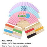 2020 Promotion Custom Printed Logo Portable Wedding Paper Bamboo Folding Hand Fan