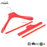 Custom Luxury Fashion Red Wooden Hangers with Soft Pant Bar