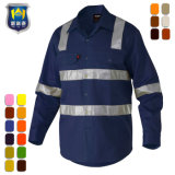 Custom 3m Reflective Cotton Drill Hi Vis Work Shirt