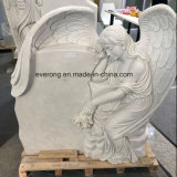 2019 New Design White Marble Monument Heart Tombstone with Weeping Angel Wings for Cemetery