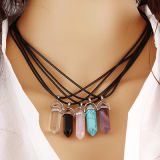 Pendant Silver Alloy Necklace Natural Stone Healing Crystals Chain Necklace