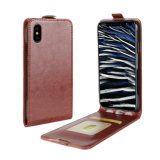 Retro PU Mobile Phone Flip Case for iPhone X-Brown