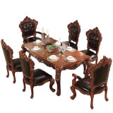 Solid Wood Dining Table with Dining Chair for Home Furniture