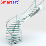 Straight Glass Staircase / Stainless Steel Glass Stairs with LED Light