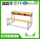 Wooden Double Chair and Desk School Furniture for Sale (SF-39D)