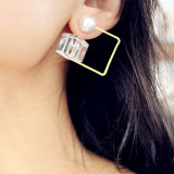 2 Colors Cube Acrylic White Pearl Stud Earrings