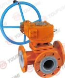 Lined 3-Way Ball Valve Worm Gear Operator
