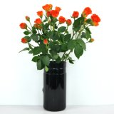 Black Cylindrical Crane Glass Vase