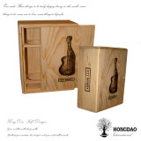 Hongdao High Quality Unfinished Wooden Wine Gift Box for Gift Wooden Box Wholesale Price _E