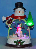 Christmas Decoration Snowman 9′′ LED & Musical Snowman with Rotating Snowman Inside, 8 Christmas Songs Music