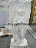 European Church Sculpture Life Size White Marble Stone Female Angel Statue