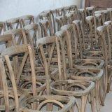 China Manufacturer Beech Oak Wooden Cross Back Rattan Mat Chair