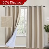 Linen Look, 100% blackout curtains(with Liner)Tan blackout curtains& Blackout Thermal Insulated Liner, Grommet Curtains for Living Room/Bedroom, burlap curtains