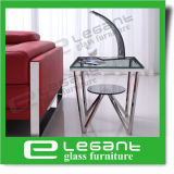 Small Square Tempered Glass Side Table with Stainless Steel Frame